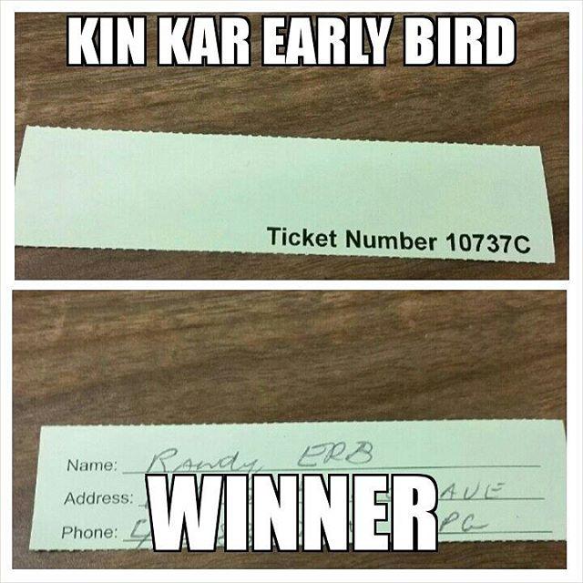 $500 Early Bird Kin Kar Draw March 31st 2016