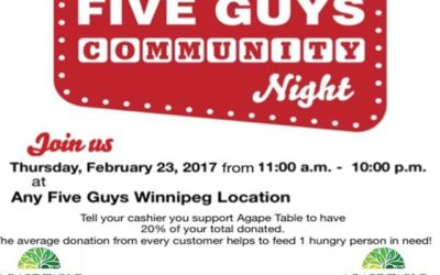 Five Guys for Agape Table